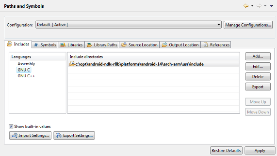 Eclipse include paths dialog