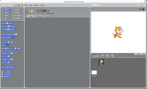 Main screen of Scratch at startup